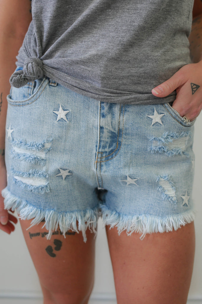 High Rise Star Denim Shorts - Online Clothing Boutique