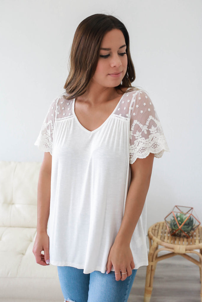 Short Sleeve Lace Top - Online Clothing Boutique