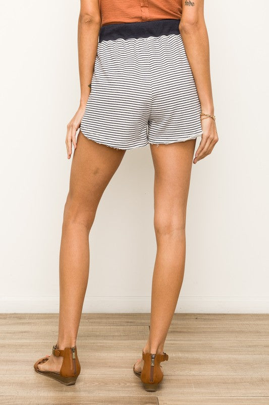 Striped Terry Cloth Shorts - Online Clothing Boutique