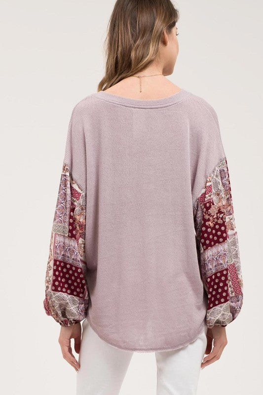 Handkerchief Sleeve V-Neck Top - Online Clothing Boutique