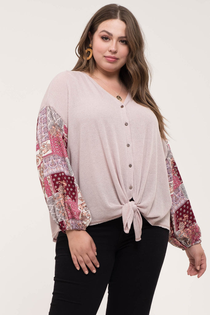 Plus Size Handkerchief Sleeve V-Neck Top - Online Clothing Boutique