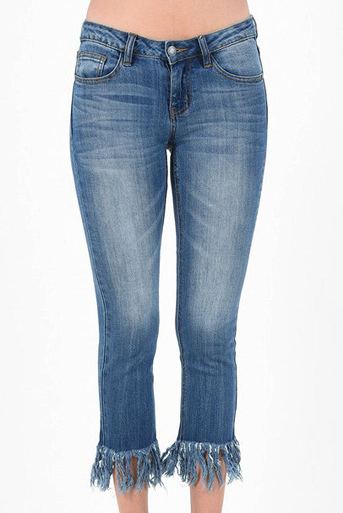 Frayed Mid Rise Denim - Online Clothing Boutique