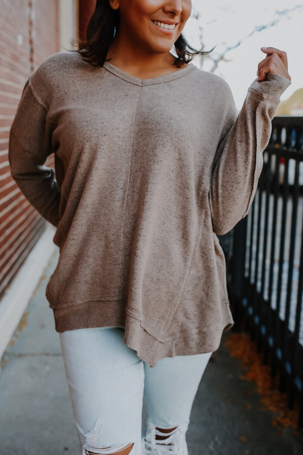 Long Sleeve Brushed Knit Asymmetric Top | Stylish & Affordable | UOI Online