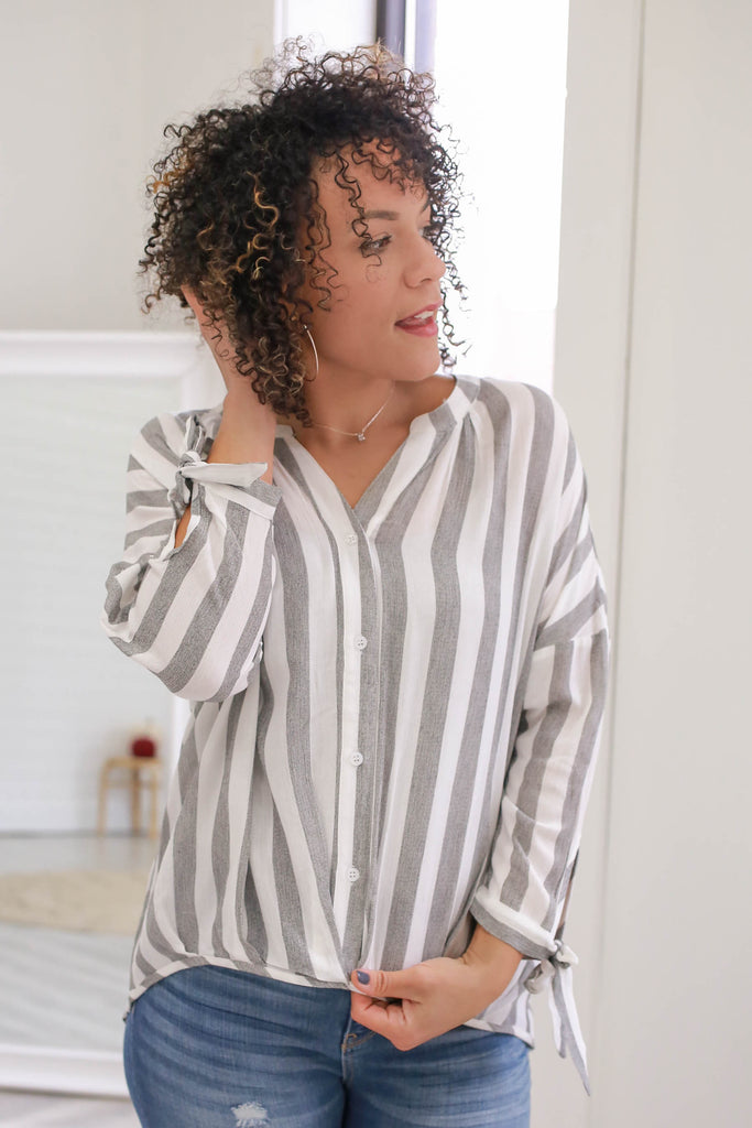 Striped Button Down Top - Online Clothing Boutique