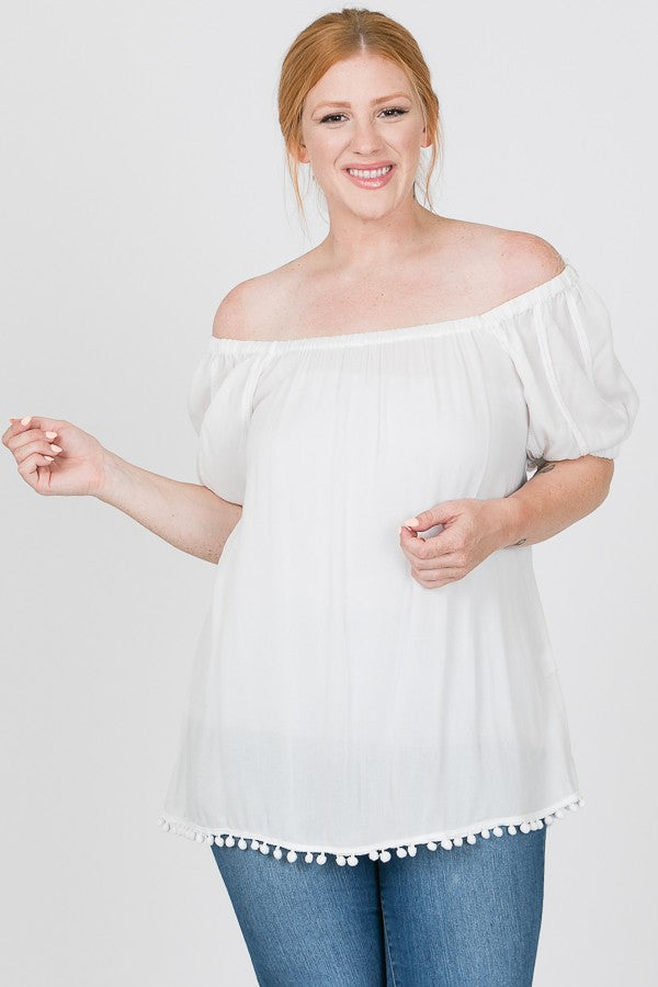 Plus Size Off The Shoulder Top - Online Clothing Boutique