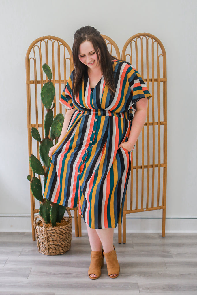 Plus Size Striped Midi Dress - Online Clothing Boutique