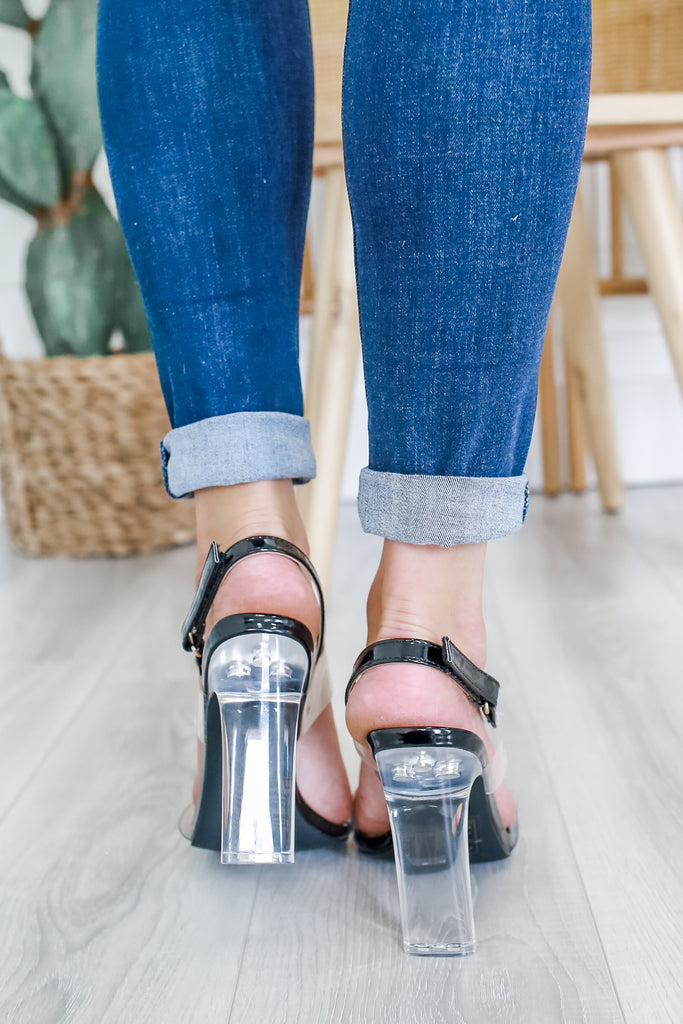Faux Leather Clear Heels | Stylish & Affordable | UOI Online