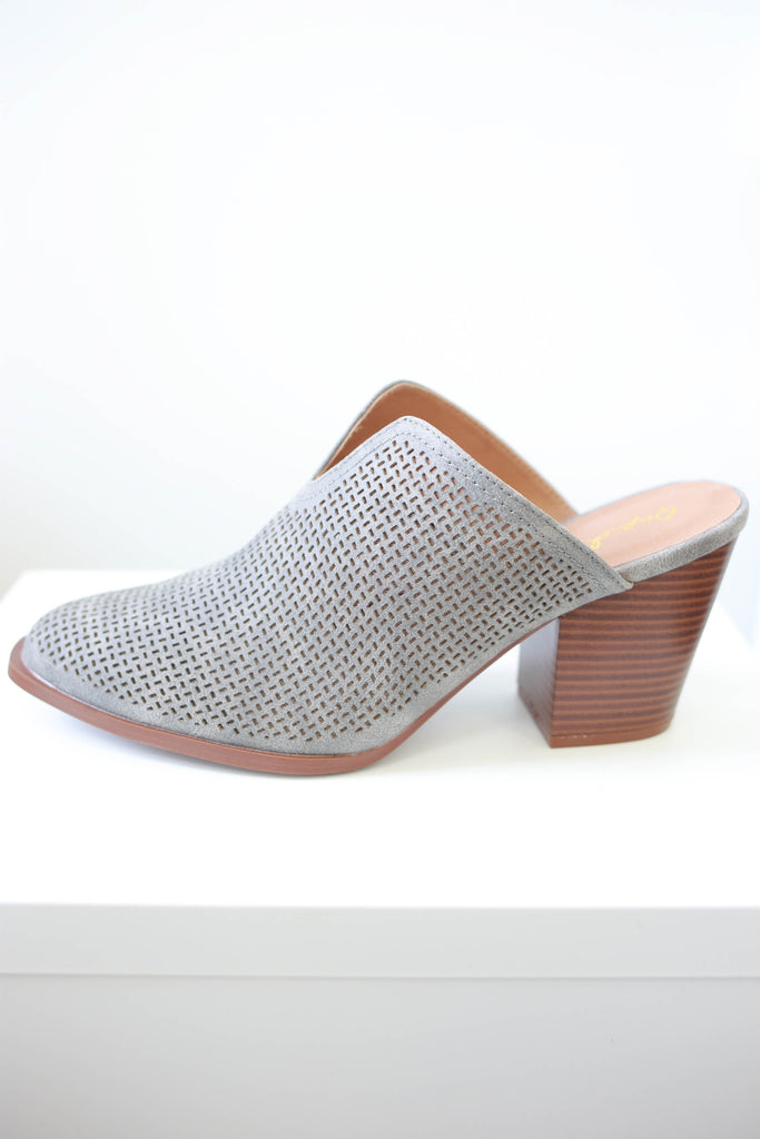 Perforated Faux Leather Mules - Online Clothing Boutique