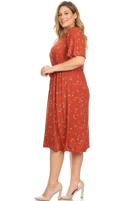 Plus Size Floral Midi Dress | Stylish & Affordable | UOI Online