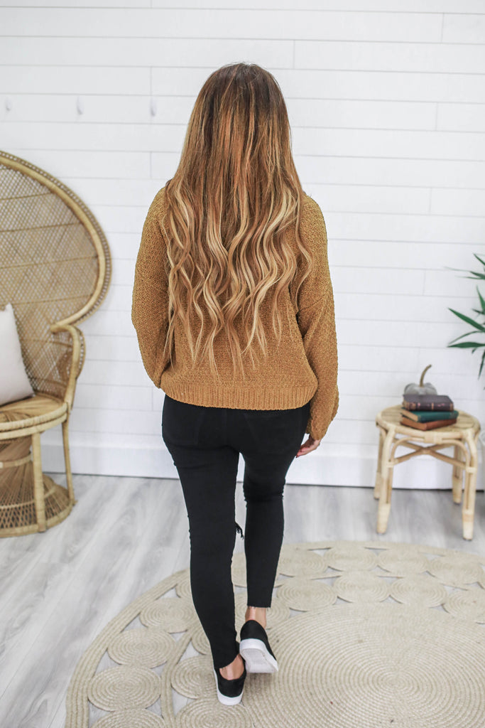 Balloon Sleeve Chenille Sweater - Online Clothing Boutique