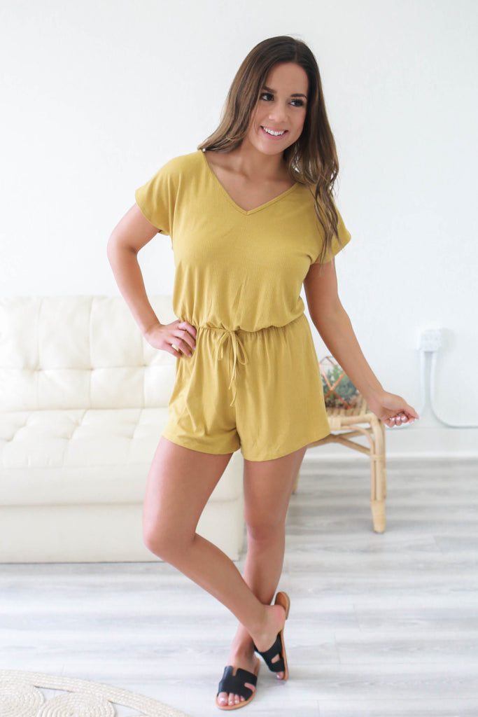 Drawstring Waist Romper - Online Clothing Boutique