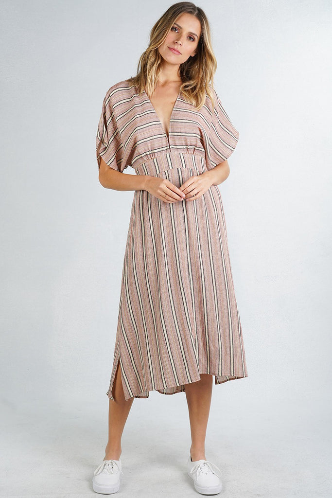 Striped Open Back Midi Dress - Online Clothing Boutique