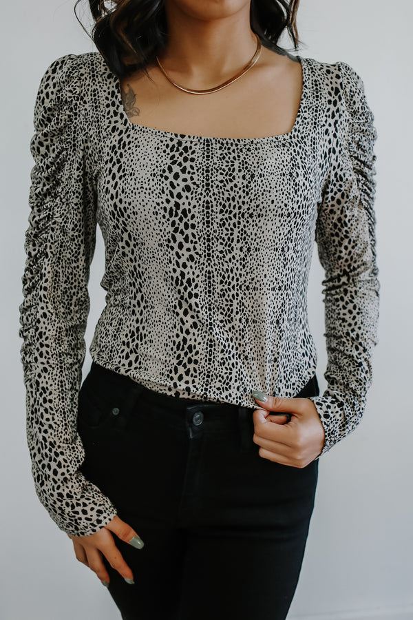 Long Puff Sleeve Animal Print Top | Stylish & Affordable | UOI Online