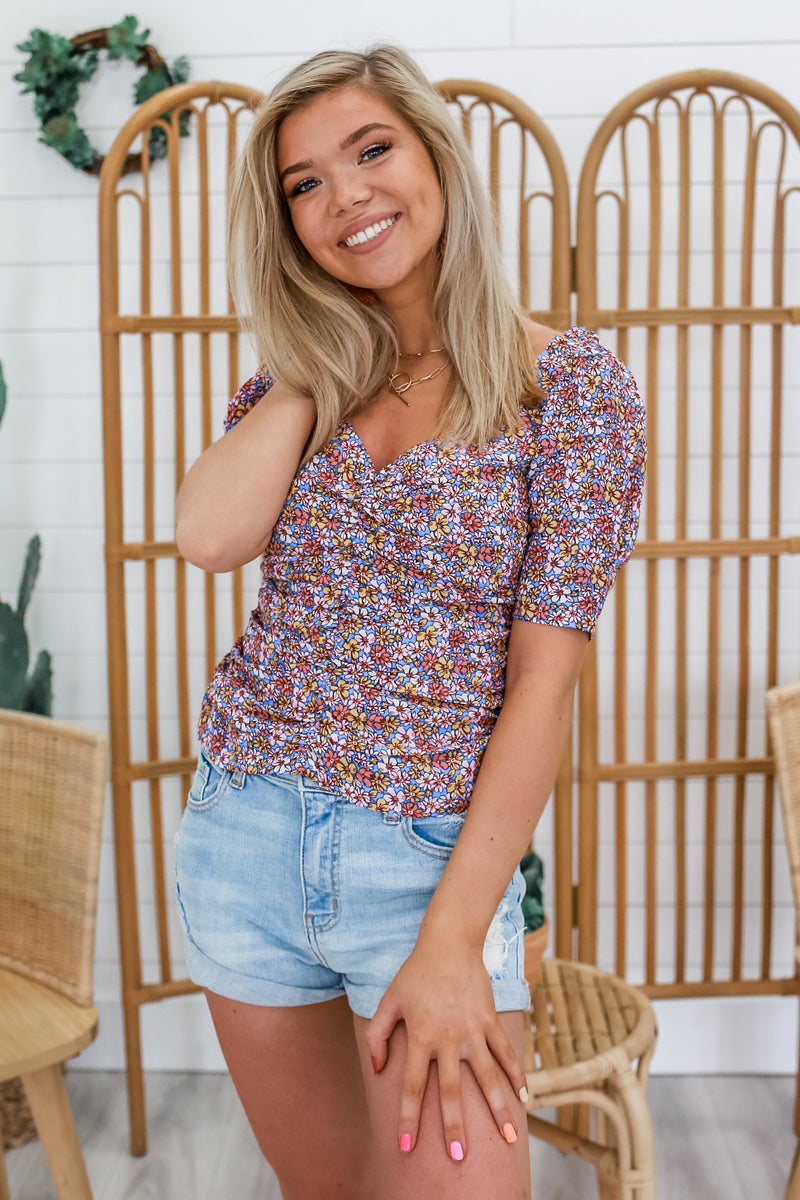 Ditzy Floral Puff Sleeve Top | Stylish & Affordable | UOI Online