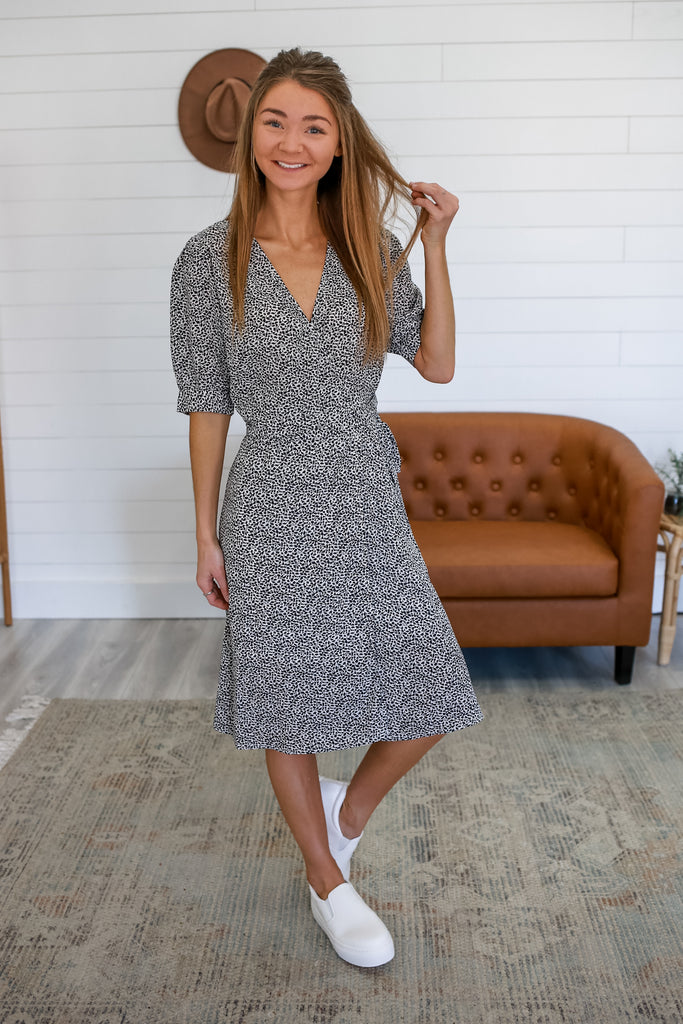 Printed Midi Wrap Dress | Stylish & Affordable | UOI Online