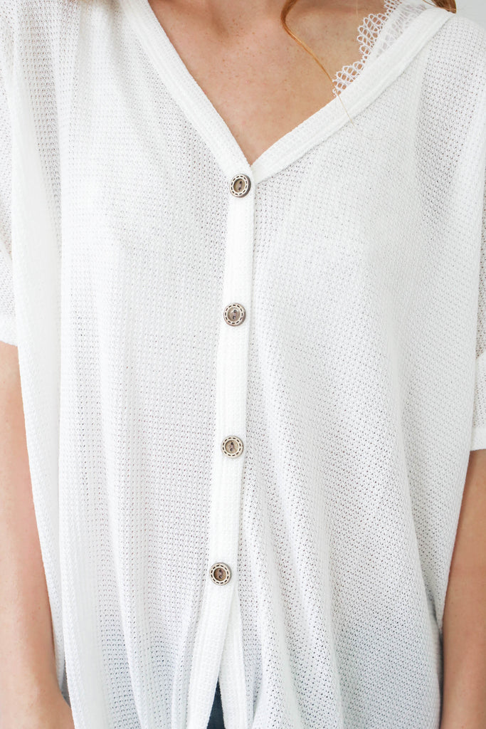 Button Up Knit Top - Online Clothing Boutique