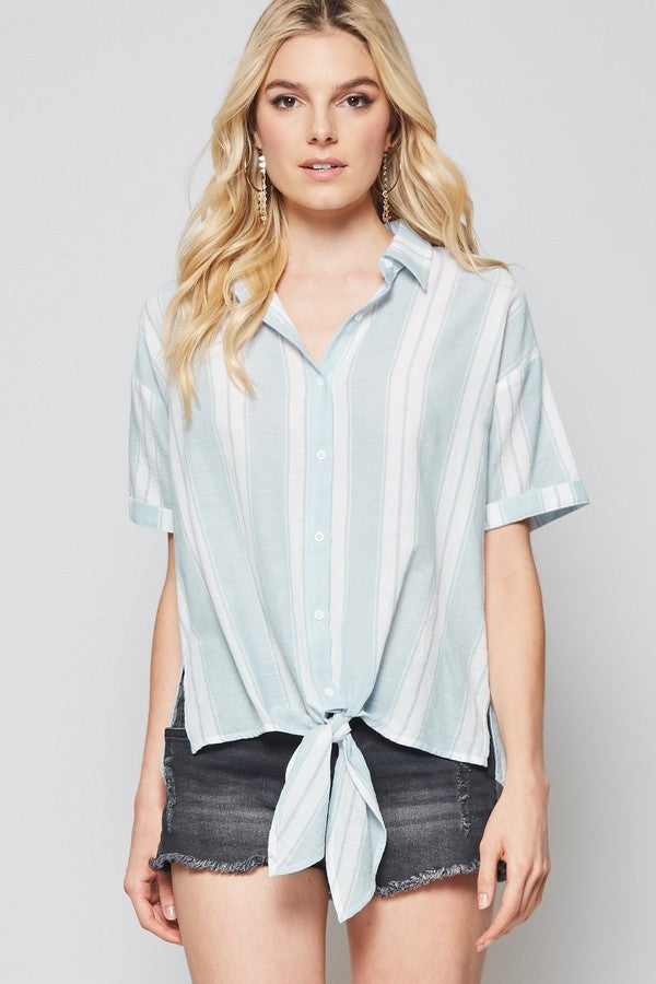 Striped Front Tie Top - Online Clothing Boutique