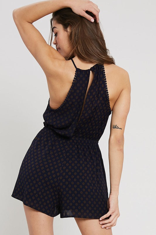 Trapeze Printed Romper - Online Clothing Boutique