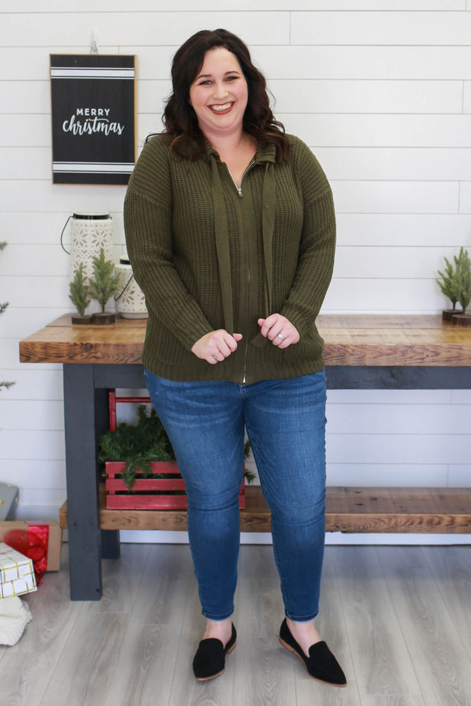 Plus Size Zip-Up Sweater | Stylish & Affordable | UOI Online