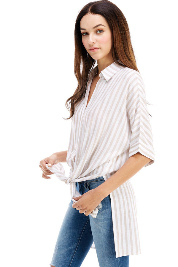 Striped Button Up Top | Stylish & Affordable | UOI Online