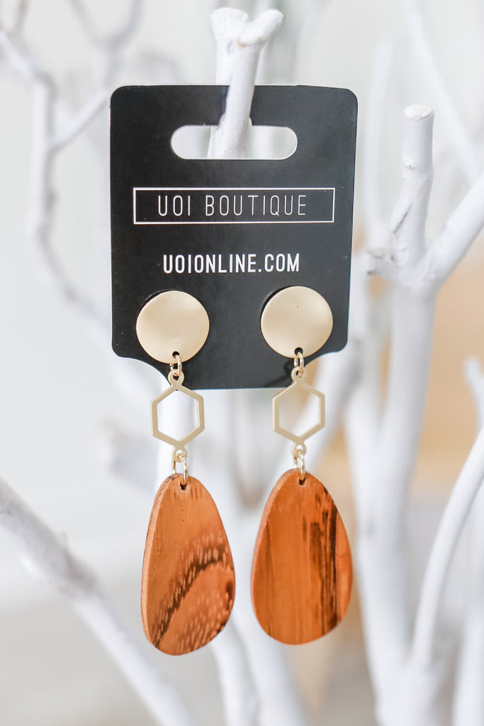 Wooden Geometric Earrings | Stylish & Affordable | UOI Online