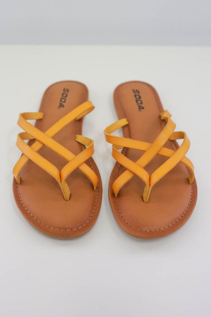Strappy Faux Leather Sandals - Online Clothing Boutique