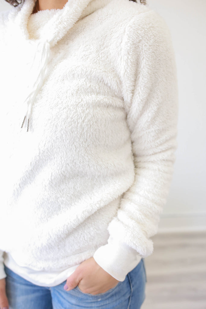 Cowl Neck Sherpa Pullover - Online Clothing Boutique