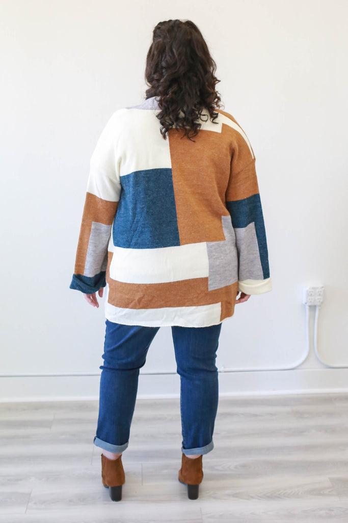 Plus Size Color Block Cardigan - Online Clothing Boutique