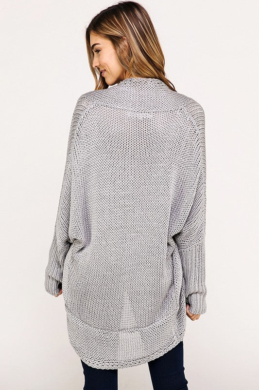 Long Dolman Sleeve Knit Cardigan - Online Clothing Boutique