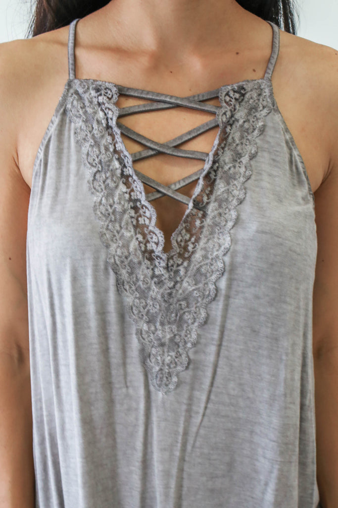 Criss-Cross Trapeze Tank - Online Clothing Boutique