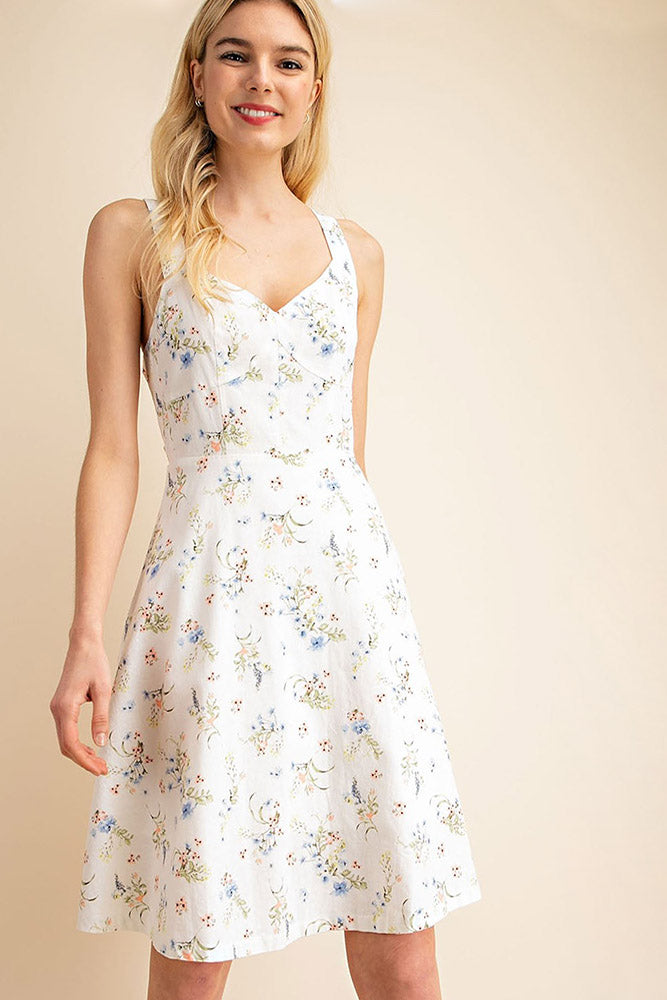 Floral Lace Up Dress - Online Clothing Boutique
