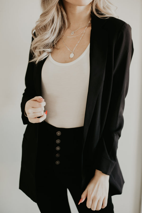 Collared Open Front Blazer | Stylish & Affordable | UOI Online