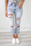 Low Rise Distressed Girlfriend Fit Denim - Online Clothing Boutique