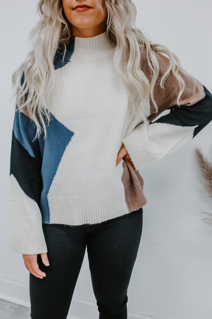 Long Sleeve Mock Neck Color Block Knit Sweater | Stylish & Affordable | UOI Online
