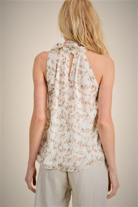 Floral Print Halter Top - Online Clothing Boutique