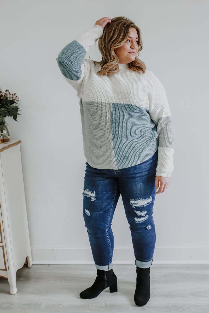 Plus Mock Neck Color Block Knit Sweater | Stylish & Affordable | UOI Online
