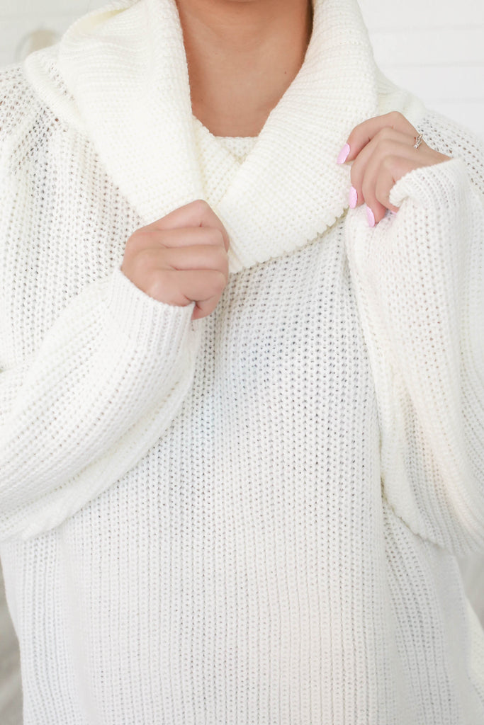 Cowl Neck Oversized Sweater - Online Clothing Boutique