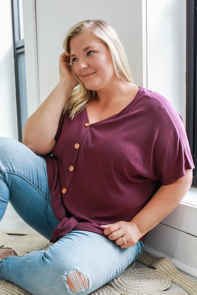 Plus Size Button Up Top - Online Clothing Boutique