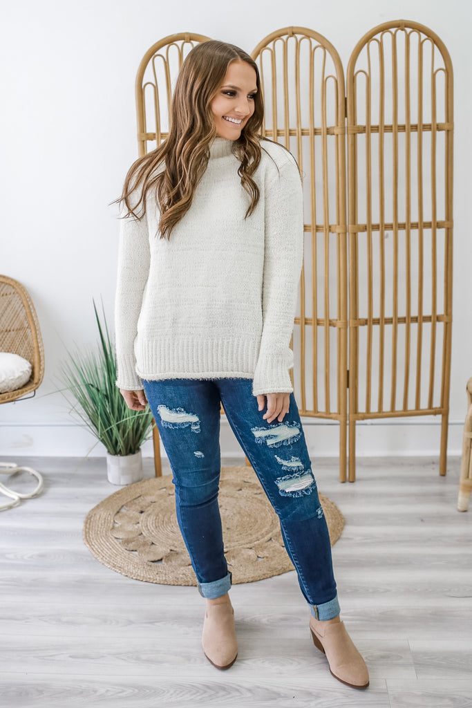 Fuzzy Turtleneck Sweater | Stylish & Affordable | UOI Online