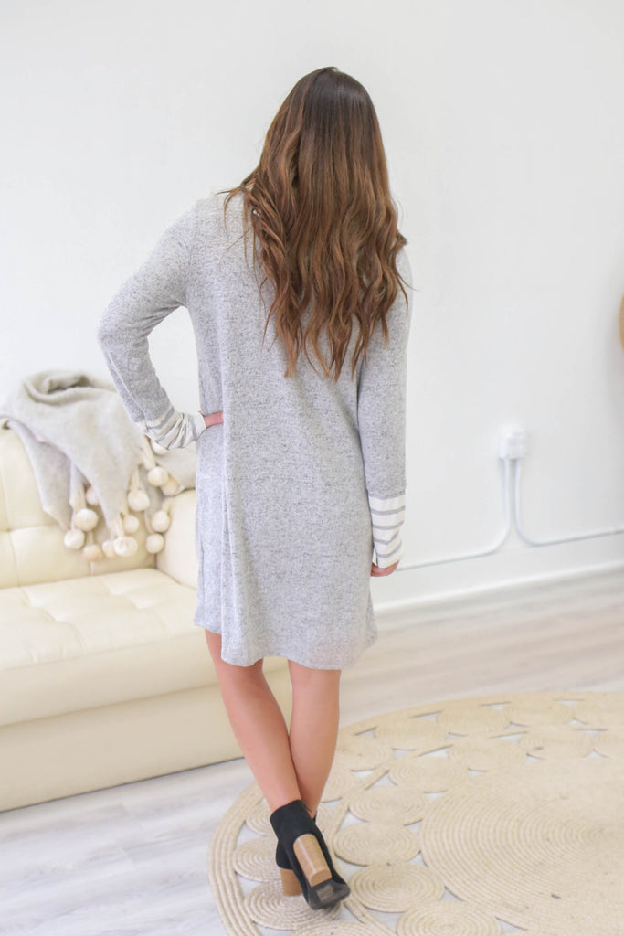 Long Sleeve Striped Cowl Neck Dress - Online Clothing Boutique