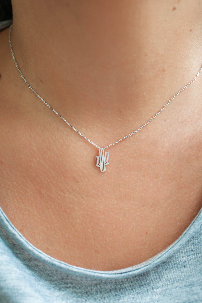 Silver Cactus Necklace - Online Clothing Boutique