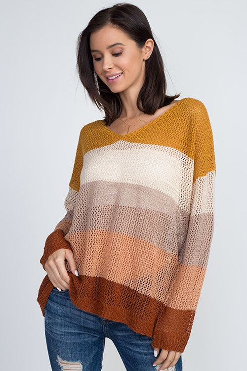 Open Knit V-Neck Sweater - Online Clothing Boutique