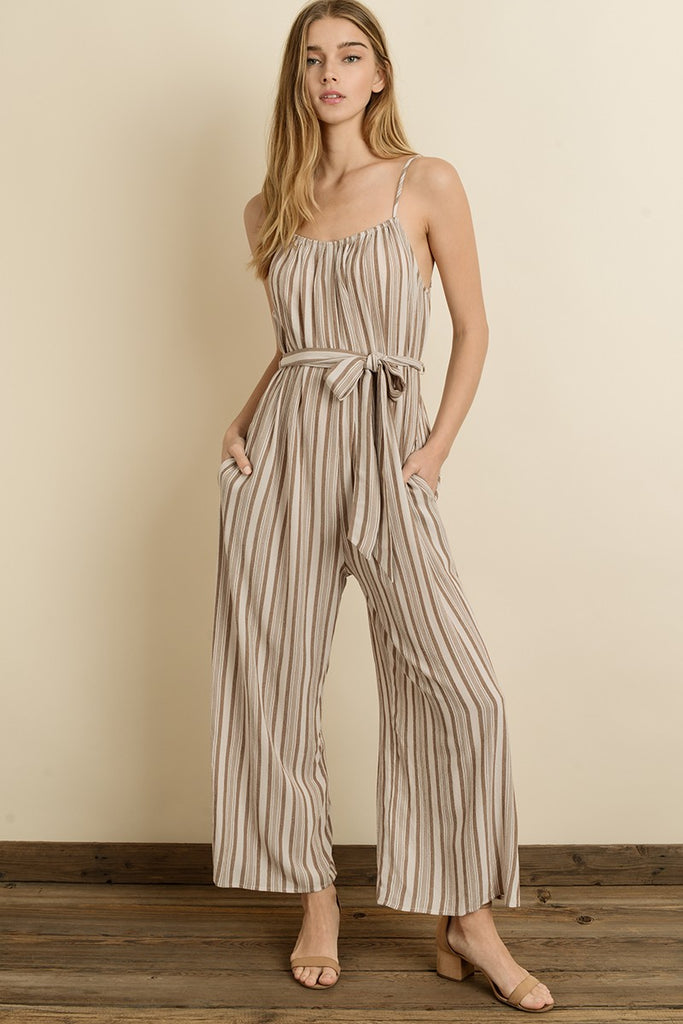 Wide Legged Striped Jumpsuit - Online Clothing Boutique