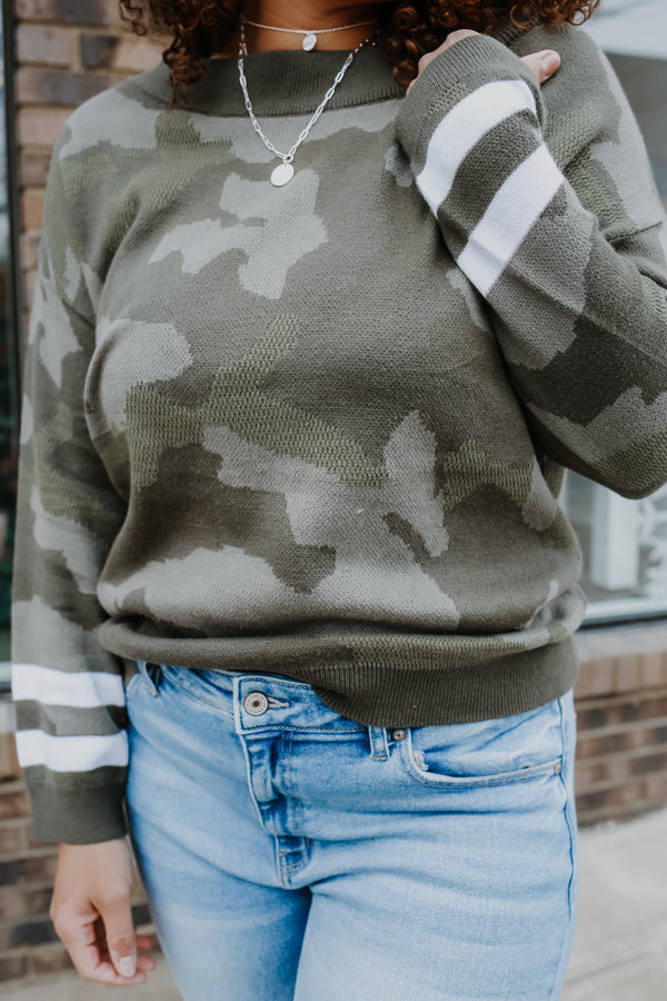 Boat Neck Camo Print Knit Sweater | Stylish & Affordable | UOI Online