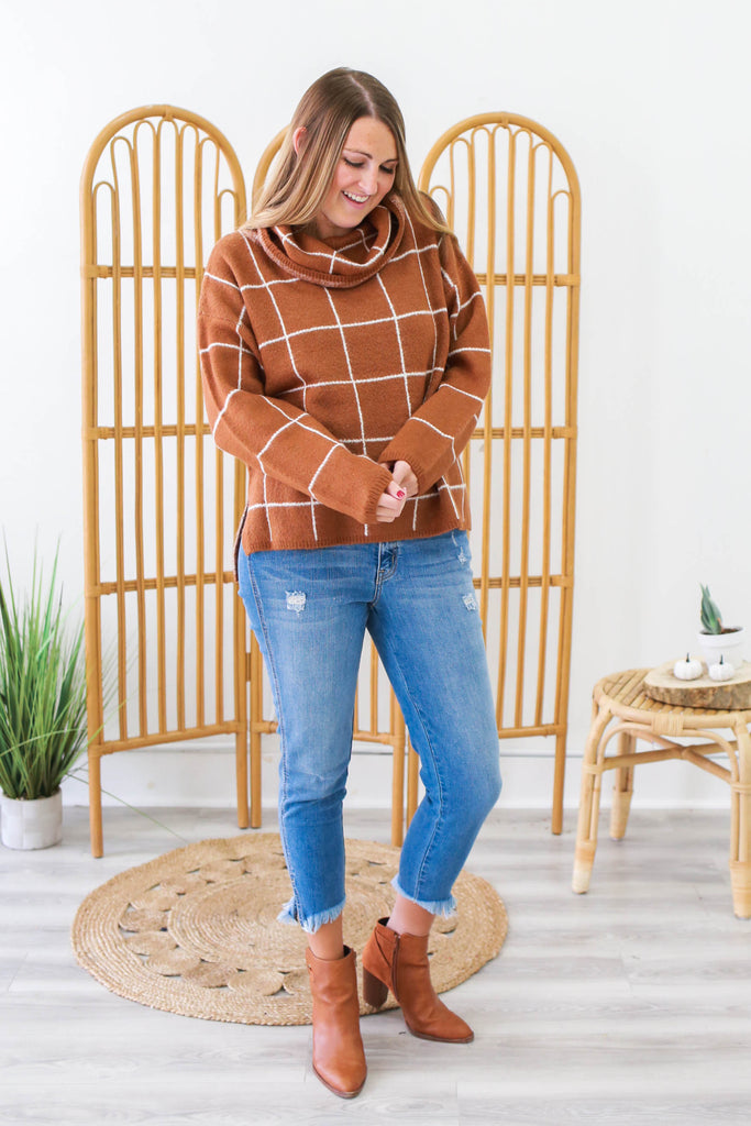 Windowpane Plaid Sweater | Stylish & Affordable | UOI Online