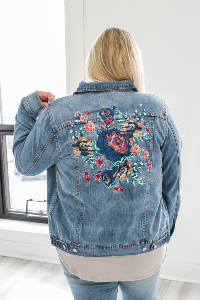 Plus Size Embroidered Denim Jacket - Online Clothing Boutique