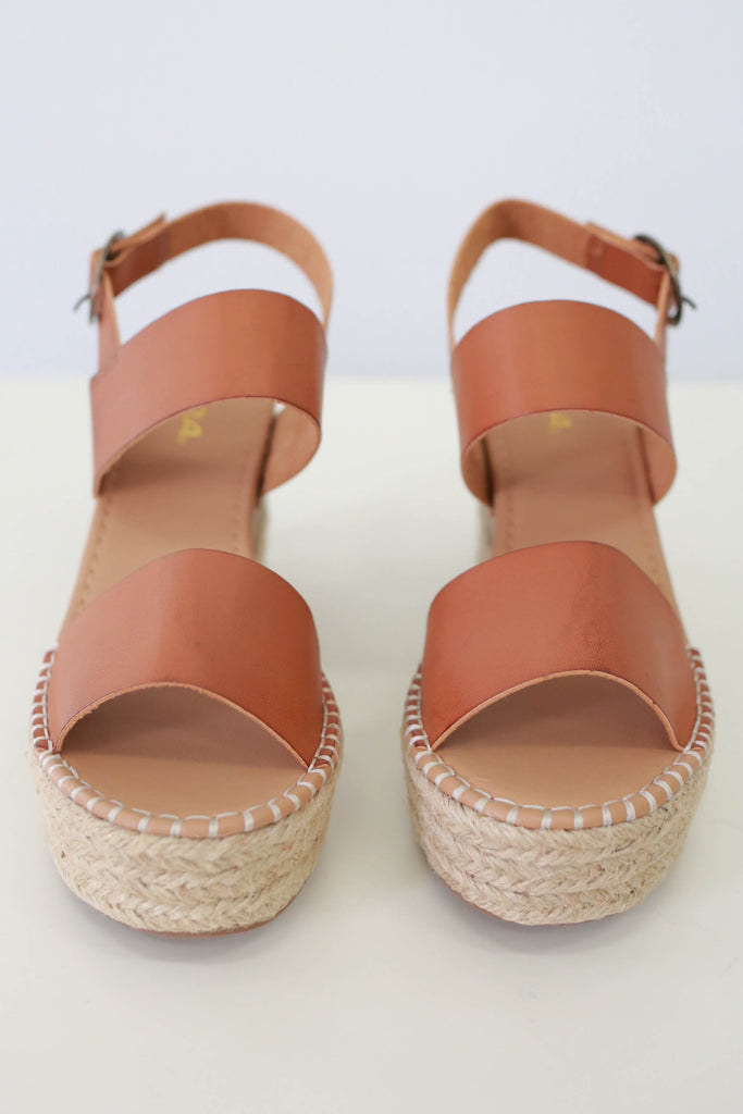 Faux Leather Espadrille Wedge Sandals - Online Clothing Boutique