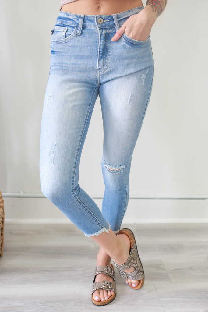 High Rise Skinny Fit Cropped Denim - Online Clothing Boutique
