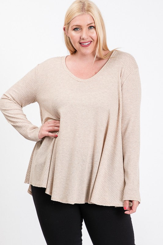 Plus Size Waffle Knit Top | Stylish & Affordable | UOI Online