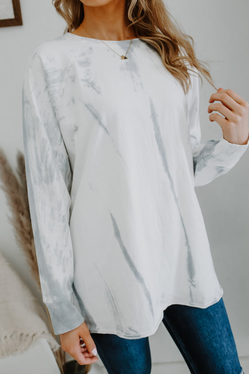 Crew Neck Tie-Dye Knit Terry Knit Top | Stylish & Affordable | UOI Online